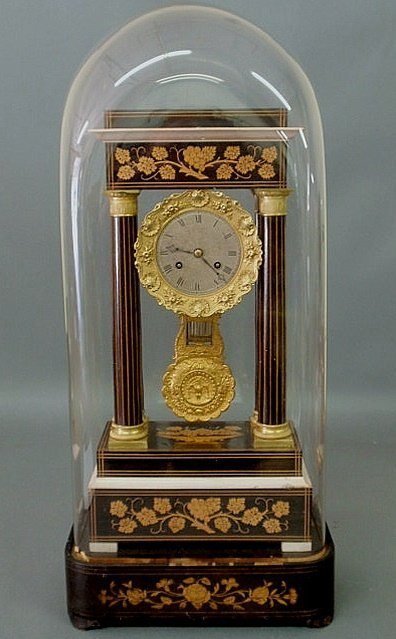 17: French portico clock with floral inlaid decoration