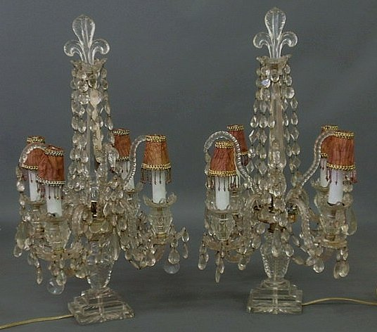 18: Pair of crystal candelabra with drop prisms and fl