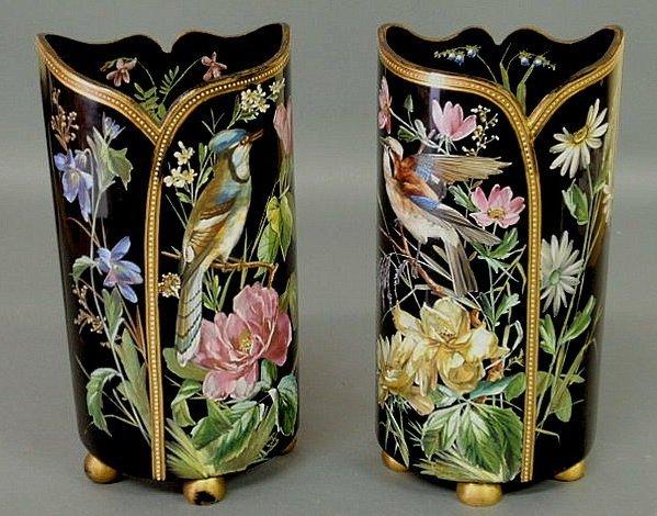 "21: Pair of dark amethyst glass vases signed ""Graligio"