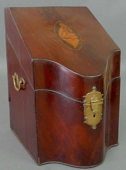 24: Mahogany knife box, c.1790, with conch shell inlay