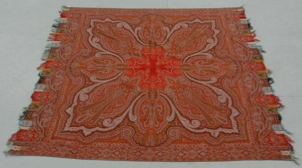 """25: Red paisley wool cover or spread. 69""""x69"""""""