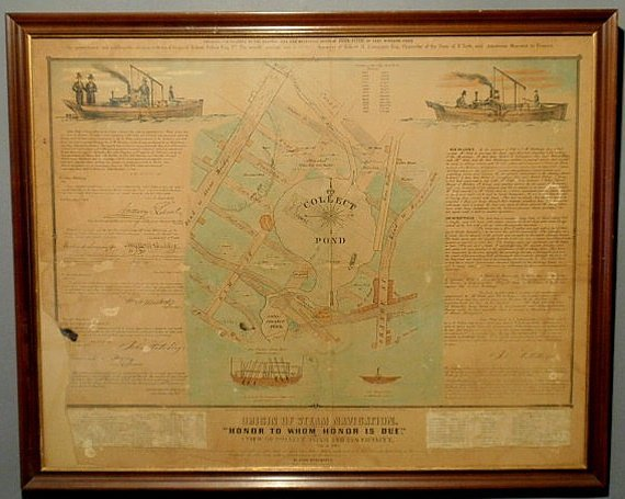 """27: Lithograph """"Origin of Steam Navigation- Honor to W"""