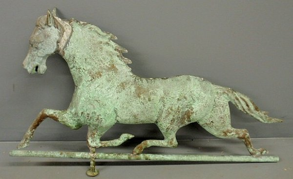 28: Copper and zinc weathervane, molded full-bodied ru