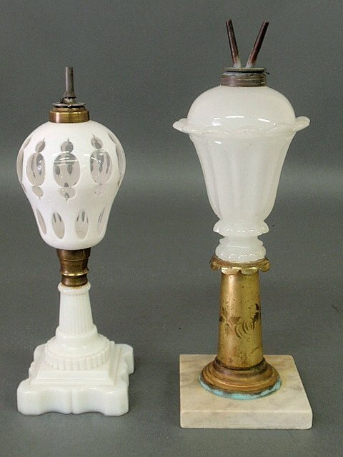 31: White-cut-to-clear glass fluid lamp, 19th c., with