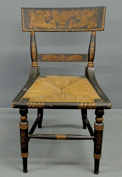 34: Baltimore klismos chair, c.1840, with stenciled co