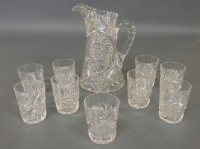 "Cut Glass Water Pitcher 10.5""h. And Nine Tumblers"