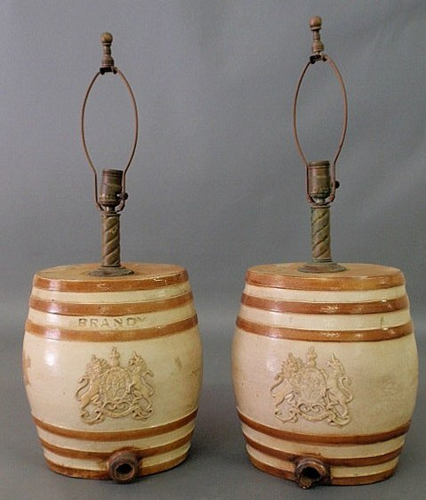 58: Pair of English stoneware liquor casks, two-gallon