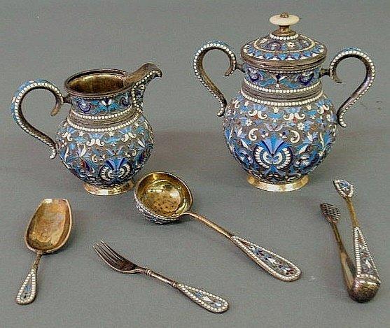 "65: Set of Russian enamelware marked ""BA""- creamer 3.7"