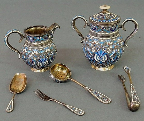 "65: Set of Russian enamelware marked ""BA""- creamer 3.7"