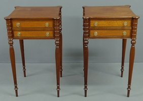 Pair Of New England Style Mahogany End Tables Each
