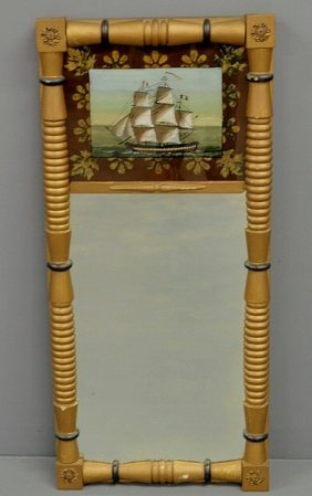 Gilt Framed Sheraton Mirror With Reverse Painted P