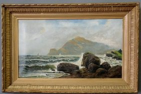 Oil On Canvas Seascape Painting With Mountain And