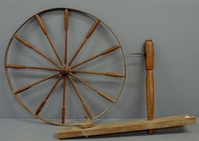 Maple Spinning Wheel, 18th/19th C. As Found. Wheel