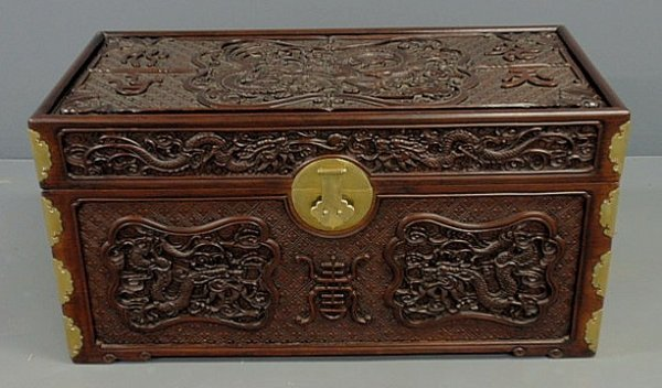 212: Chinese carved rosewood blanket chest , c.1950, wi