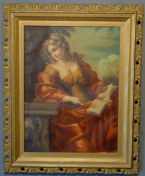 "228: Italian oil on canvas portrait of Sybil signed ""A."