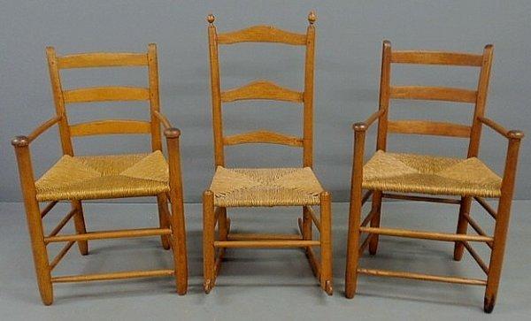232: Two maple three-slat armchairs and a three-slat ma