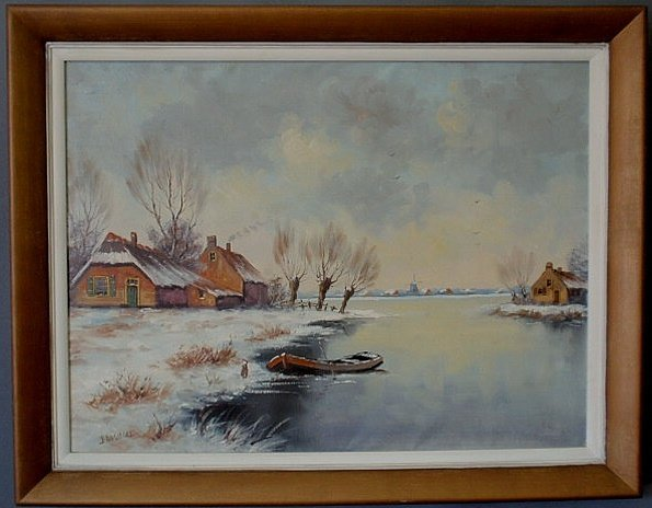 240: Oil on canvas painting of a Dutch waterway and far