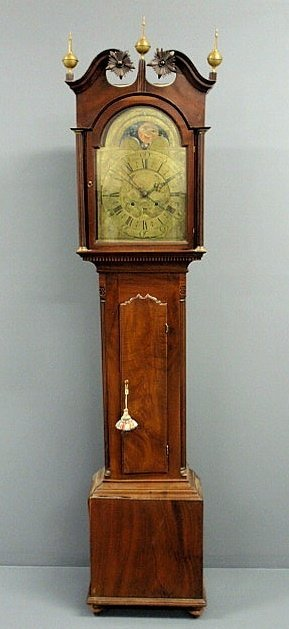 242: English Chippendale mahogany tall case clock with
