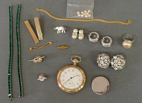 243: Group of jewelry and accessories- 2 sterling and g