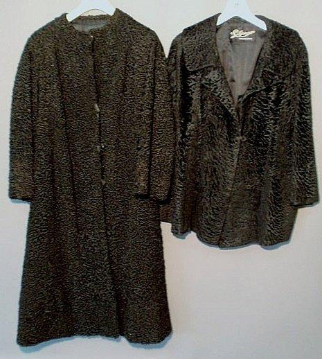 244: Ladies black curly lamb full-length coat, a three-