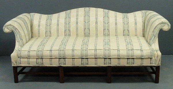 "247: Chippendale style mahogany camelback sofa. 34""h.x8"