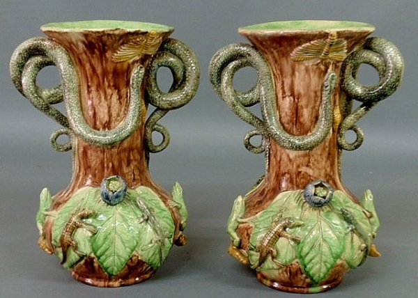 248: Pair of Portuguese Palissy-type vases by M. Mafra,
