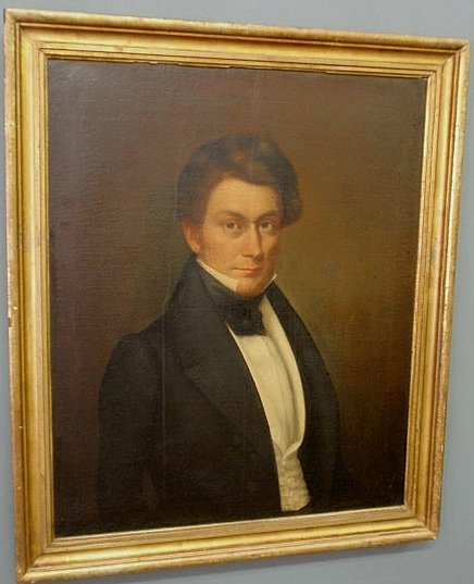 254: Oil on canvas portrait of a young man, c.1830, uns