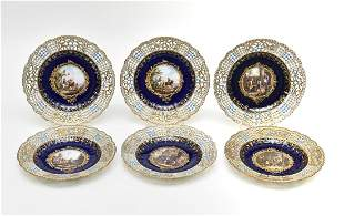 Six Meissen Reticulated Service Plates 19th c.