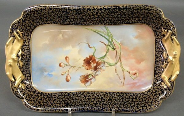 16: Colorful Limoges rectangular platter with a blue a