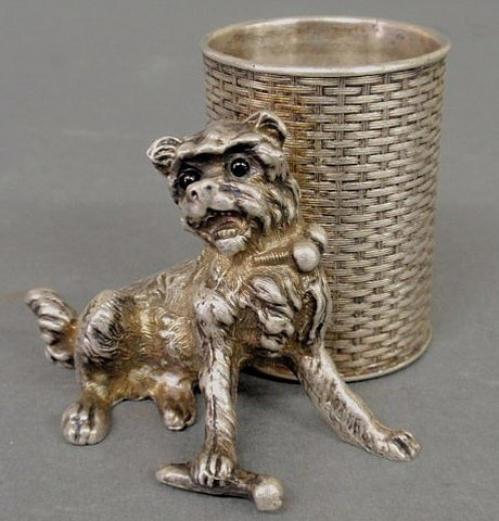17: Silverplate toothpick holder in the form of a dog