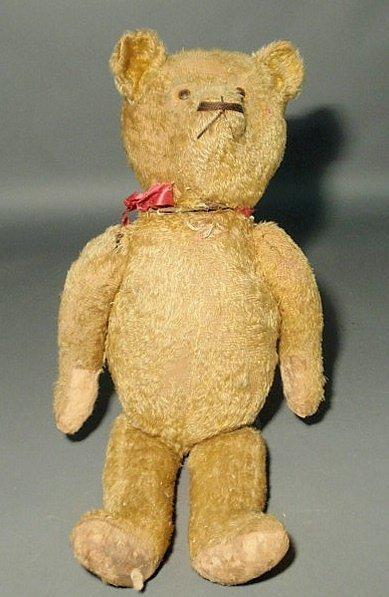 """22: Vintage gold mohair teddy bear. As found. 25""""h.x11"""