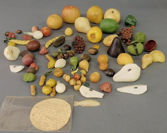 27: Group of 19th c. wax fruit, nuts, etc., with note