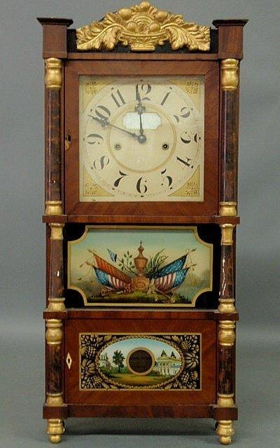 29: Empire mahogany veneered shelf clock by Barnes, Ba