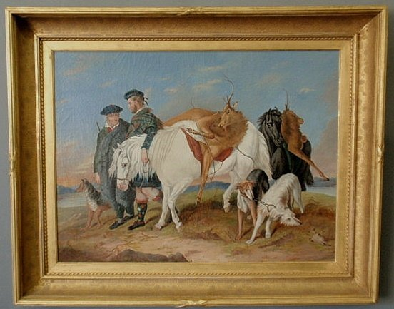 225: Oil on canvas painting, 19th c., of Scottish game