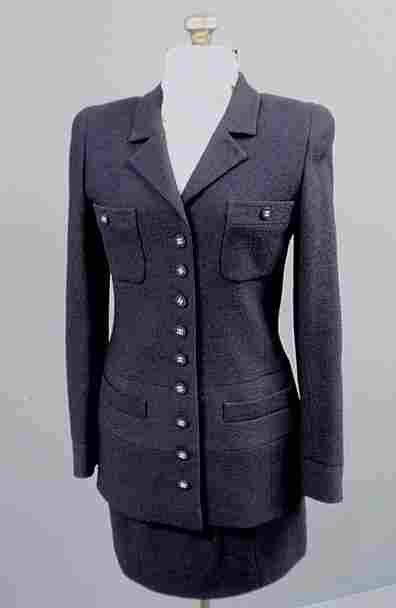 Chanel Boutique navy blue two-piece wool blend bou