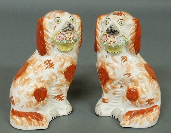 6: Pair of English Staffordshire seated spaniels, c.186