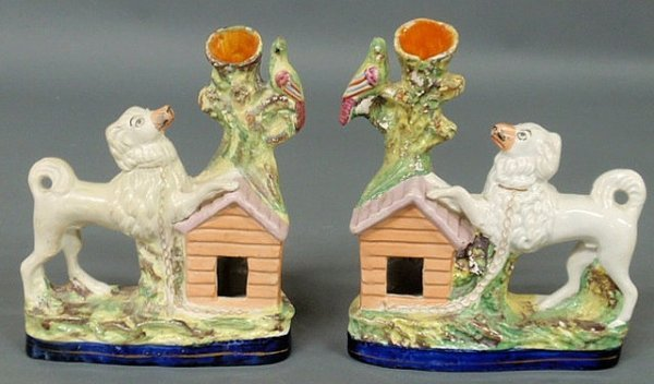7: Rare pair of English Staffordshire poodle spill vase