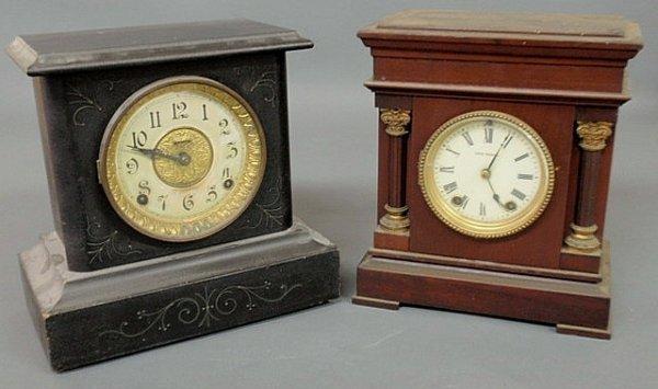 8: Two mantel clocks- black cased E. Ingraham & Co. a