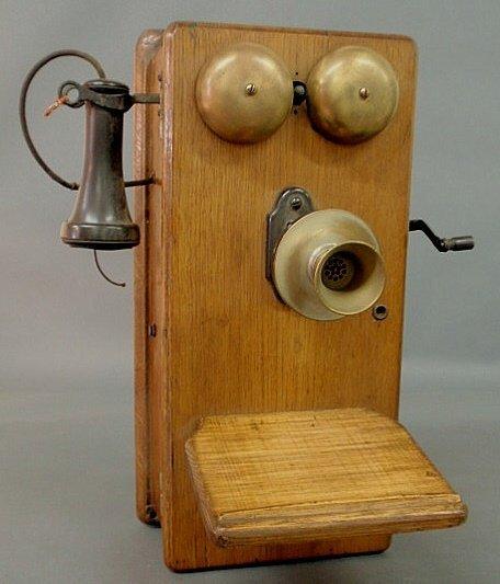 "9: Early oak cased telephone, works signed ""Stromberg"