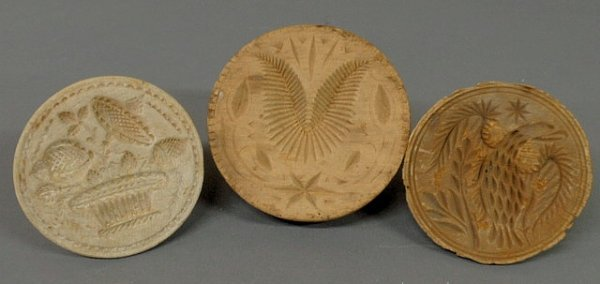 13: Three 19th c. carved wood butter prints- potted fl