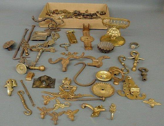 14: Group of hardware- hinges, brassware, locks, escut