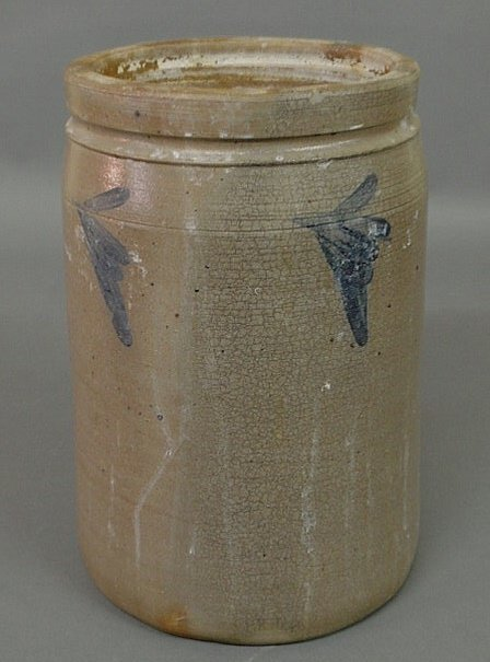 17: Two-gallon stoneware crock with blue decoration. 1