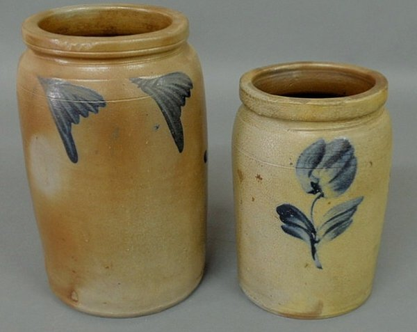 19: Two stoneware jars with blue decoration, one-gallo
