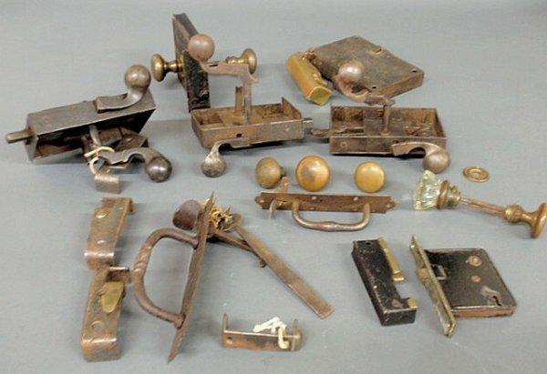 20: Group of 18th/19th c. box locks, latches, escutche