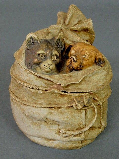 "21: Signed ""Austria"" ceramic tobacco jar, late 19th c."