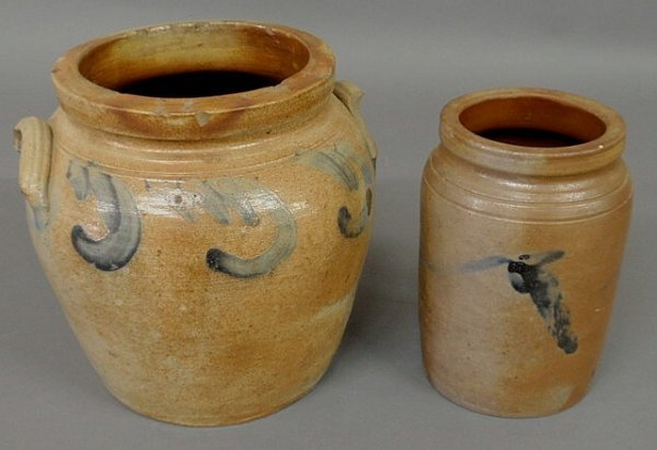 """22: Ovoid stoneware jar 9""""h., as found, and a small st"""