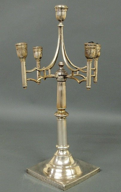 64: Russian silver five-light candelabra with four arm