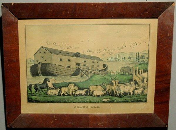 """251: Rare N. Currier lithograph """"Noah's Ark"""". 9.5""""x13.5"""