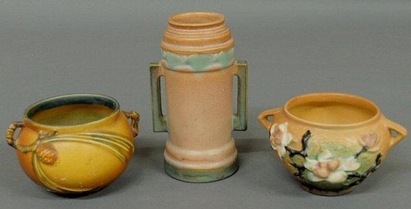 254: Three signed Roseville pottery vases, tallest 6.5