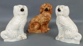 Pair Of 19th C. Staffordshire White Seated Spaniel